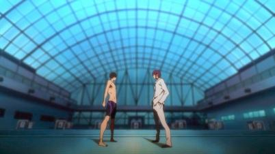 Free!-Iwatobi Swim Club, Haruka and Rin facing off