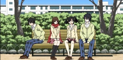 Ayano with Shintaro, Takane, and Haruka-Mekakucity Actors anime series review [The Huge Anime Fan]