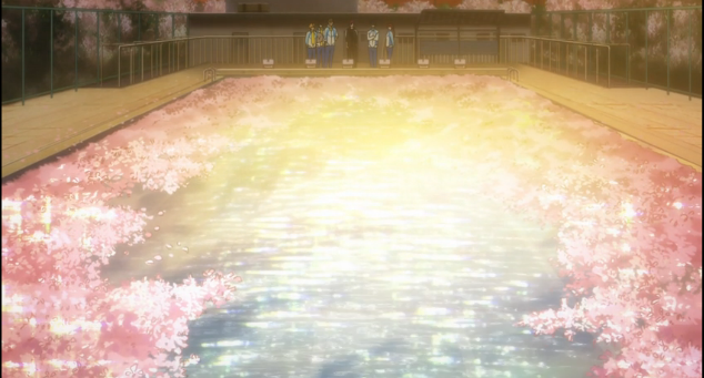 The Iwatobi swim club pool covered in cherry blossoms-Free! Eternal Summer Episode 1