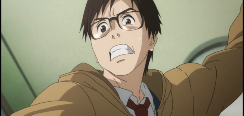 Shinichi about to cut his own hand 1-2-Parasyte anime Episode #1