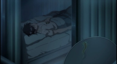 Shinichi sleeping-Parasyte anime Episode #1
