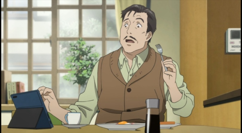 Shinichi's dad on his tablet 1-2-Parasyte anime Episode #1