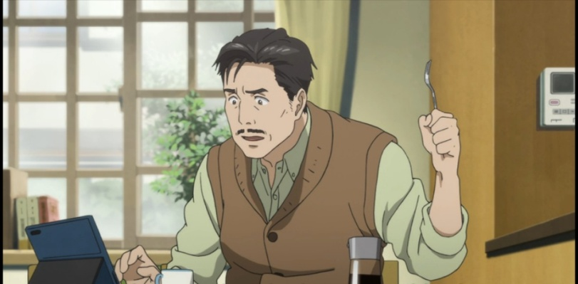 Shinichi's dad on his tablet 2-2-Parasyte anime Episode #1