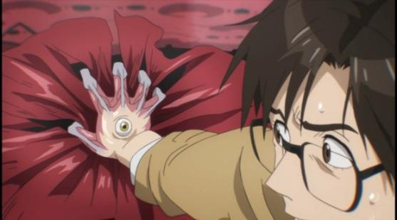 Shinichi's hand-Parasyte anime Episode #1