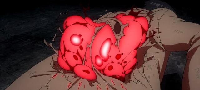 Tokyo Ghoul Episode 2 Kaneki's kagune emerging