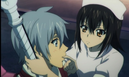 Strike the Blood Episode #17-Himeragi feeding Kojou her blood