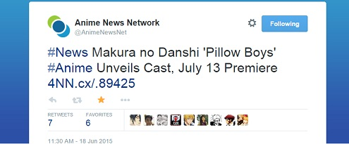 Makura no Danshi 2015 anime series Premieres July 13 [Anime News Network report]