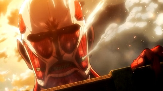 The Colossal Titan breaking the wall in Attack on Titan