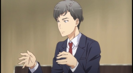 An anime character with some bizarre hand movements! Labeled as Mr.jazz hands in the anime by fans of the anime series.